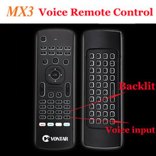 Backlit MX3 Air mouse 2.4G Wireless Keyboard Voice Remote Control Backlight English/Russian IR Learning for Android TV Box PC