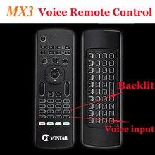 Mouse de retroiluminação mx3 air, 2.4g, teclado sem fio, controle remoto de voz, luz de fundo, inglês/russo, ir, para android tv caixa de pc