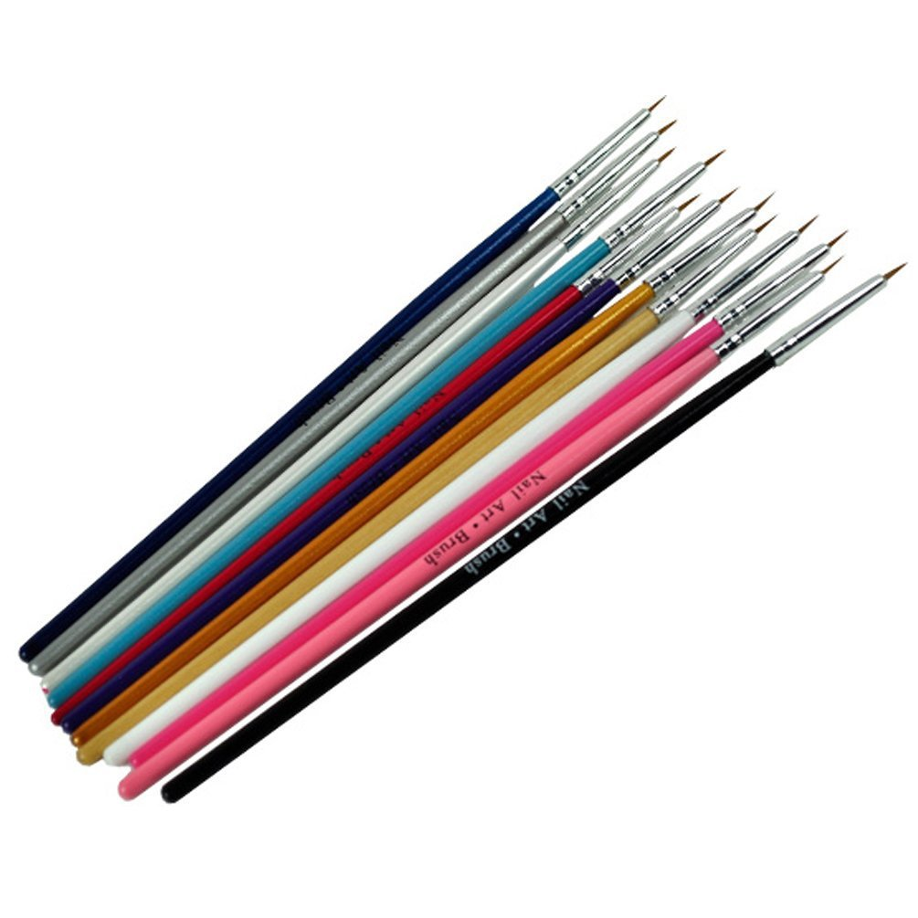 12pcs Colorful Nail Art Brush Painting Pen For Fine Details Tips ...