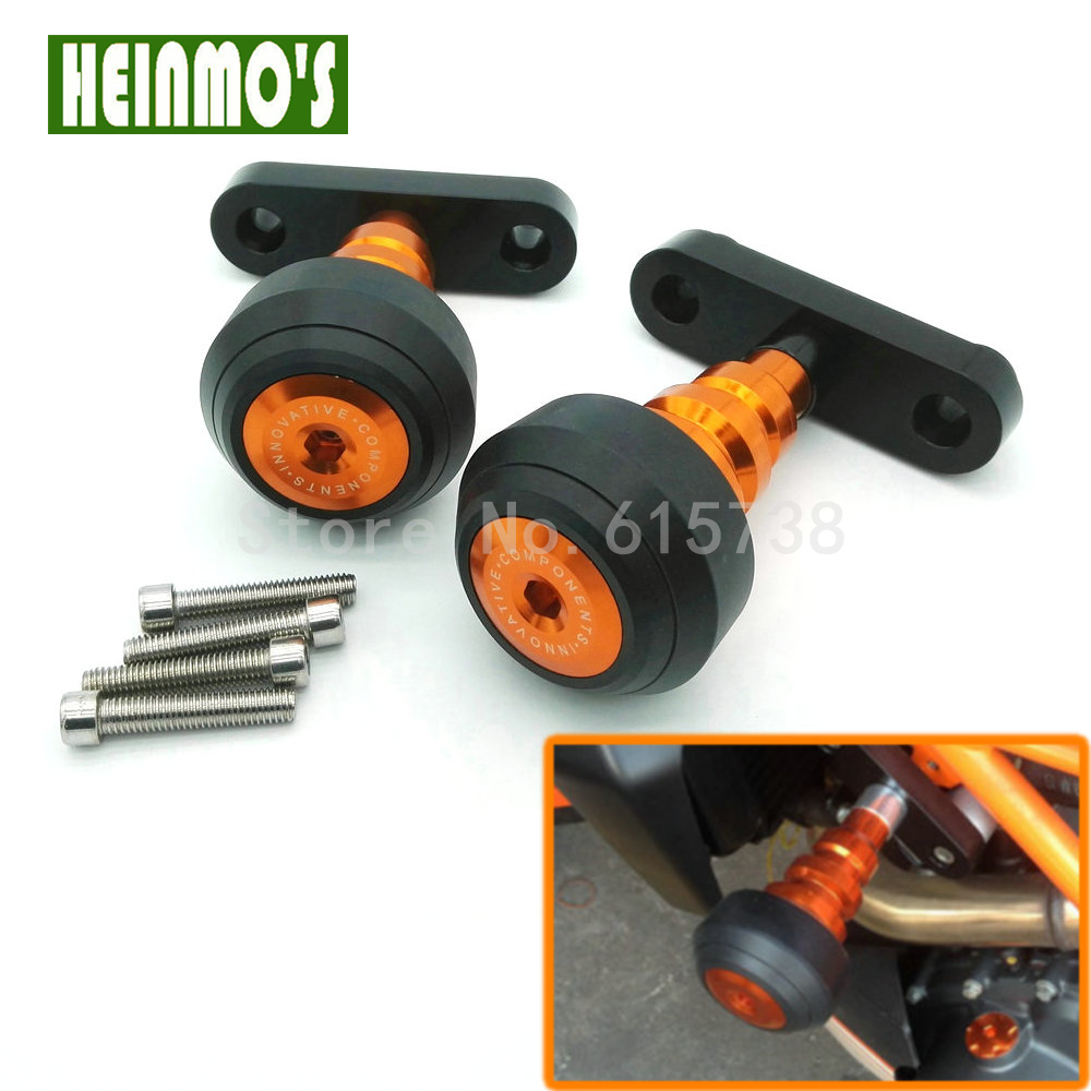 High Quality For KTM DUKE 125 200 390 Motorcycle Aluminum Motorbike Left and Right Frame Slider Anti Crash Protector Orange new orange motorcycle parts for ktm duke 125 200 390 cnc rear axle spindle chain adjuster blocks fit for rc 125 200 high quality
