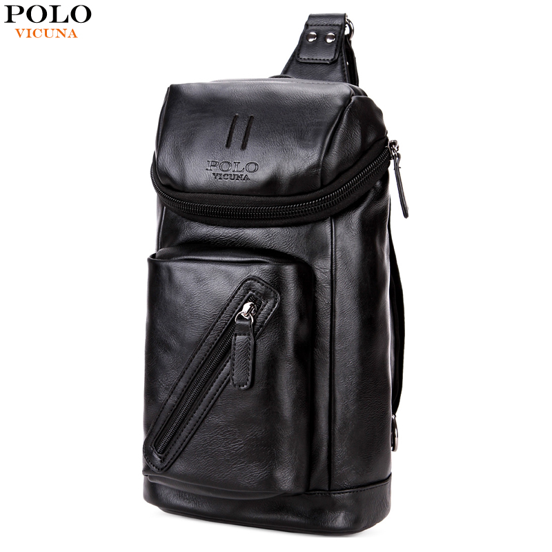 VICUNA POLO Fashion Leather Sling Male Chest Bags Pack Casual Handbag Large Capacity Single Shoulder Strap For Man Messenger Bag