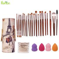 Brush Barrel Holder 20Pcs Makeup Brushes Set 7Pcs Sponge Puff Air Puff 4Pcs Foundation Puff Cosmetic