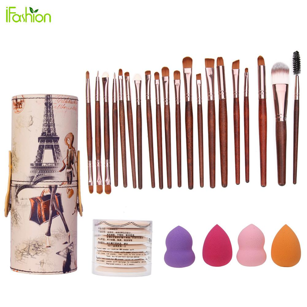 20Pcs Makeup Brushes Set with Brush Barrel Holder+7Pcs Sponge Puff Air Puff +4Pcs Foundation Puff Cosmetic Makeup Tool Kits candy color calabash shaped cosmetic makeup cotton pads sponge puff pink