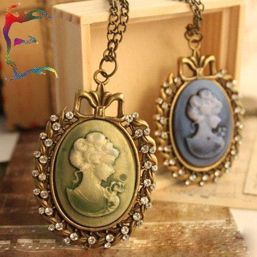 Face Pendant Wholesale fashion green blue queen girl face embossed pendant wholesale fashion green blue queen girl face embossed pendant neckalce 12pcslot lover charm neckalce audiocablefo