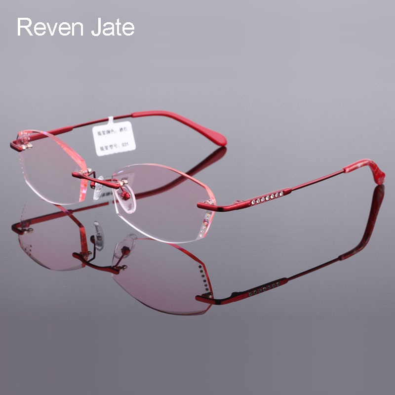 Reven Jate 031 Pure Titanium Rimless Diamond Cutting Woman Glasses Frame Optical Prescription Eyeglasses Women Eyewear Fashion
