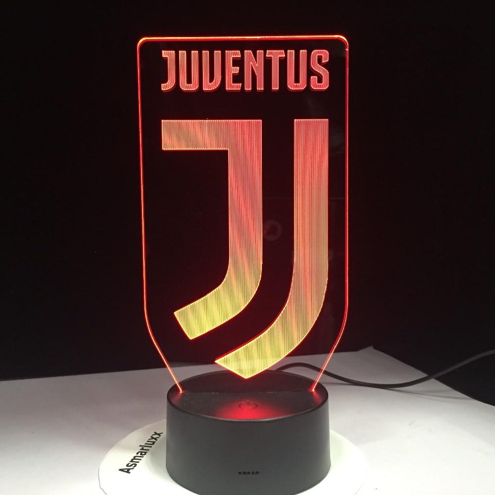 3D Fußball Lampe Juventus Club Neue Logo 7 Bunte Tier LED Nachtlicht Beste Geschenke für Kinder Dad Freunde Dropship geburtstag Geschenk