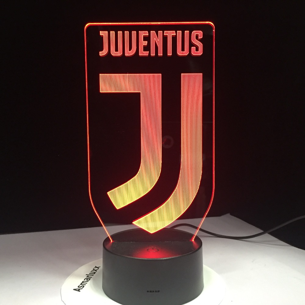 3D Soccer Lamp Juventus Club New Logo 7 Colorful Animal LED Night Light Best Gifts for Kids Dad Friends Dropship Birthday Gift italia inter fc fans milan 3d soccer lamp juventus club 7 colorful football night light best gifts for kids dad friends dropship