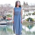 Da vuelta-abajo Sin Mangas Sólido de Lino Del Verano Midi Vestidos Largos Mujeres del Diseño de Marca Ocasional de La Vendimia Mori Vestido de la muchacha Vestidos B095