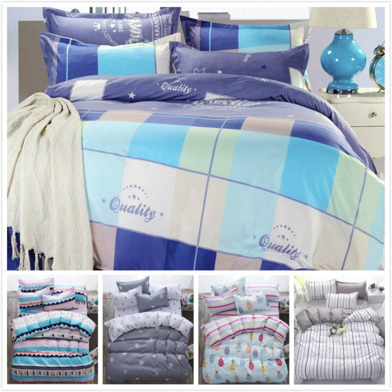 Blue White Grey Color Plaid Consice 3/4 pcs Bedding Set Cotton Kids Child Bed Linen 220x240 200x230 180x220 Full Queen King Size
