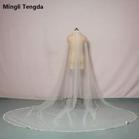 Mingli Tengda Ivory/White Bridal Veil Satin Edge One Layer 3 M Long 3 M Wide Wedding Veil Elegant Lady Cathedral Veil Metal Comb