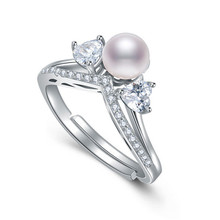 DMCRFP014 5-6MM Crown Pearl Ring Real 925 Sterling Silver Ring Women Gift(China)