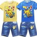 Venta al por menor 3-9 Años Los Niños del Traje de Pikachu POKEMON IR Nueva Ropa Para Niños Set Kids Pikachu camiseta + jeans de Dibujos Animados de Ropa Para Traje Deportes