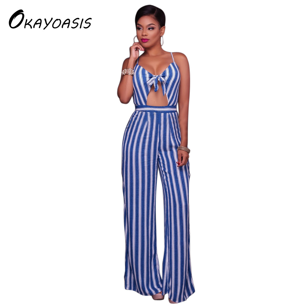 OKAYOASIS Spaghetti Strap Women Striped Party Casual Wide Leg Loose Casual Women New Summer Jumpsuits