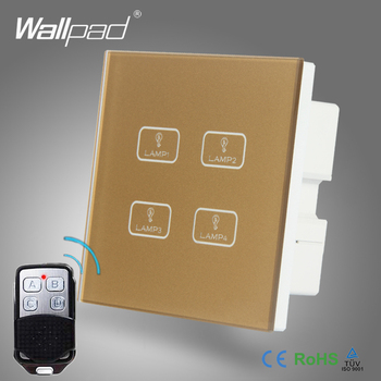 Hot Sales 4 Gang Remote Wallpad Gold Tempred Glass Switch LED Wireless 4 Gang 1 Way Remote Touch Double Wall Light Switch chint lighting switches 118 type switch panel new5d steel frame four position six gang two way switch panel