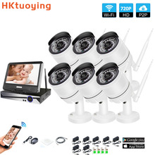 Wireless Surveillance System Network 10.1 LCD Monitor NVR Recorder Wifi Kit 6CH 720P HD Video Inputs 6PS 1.0MP Security Camera