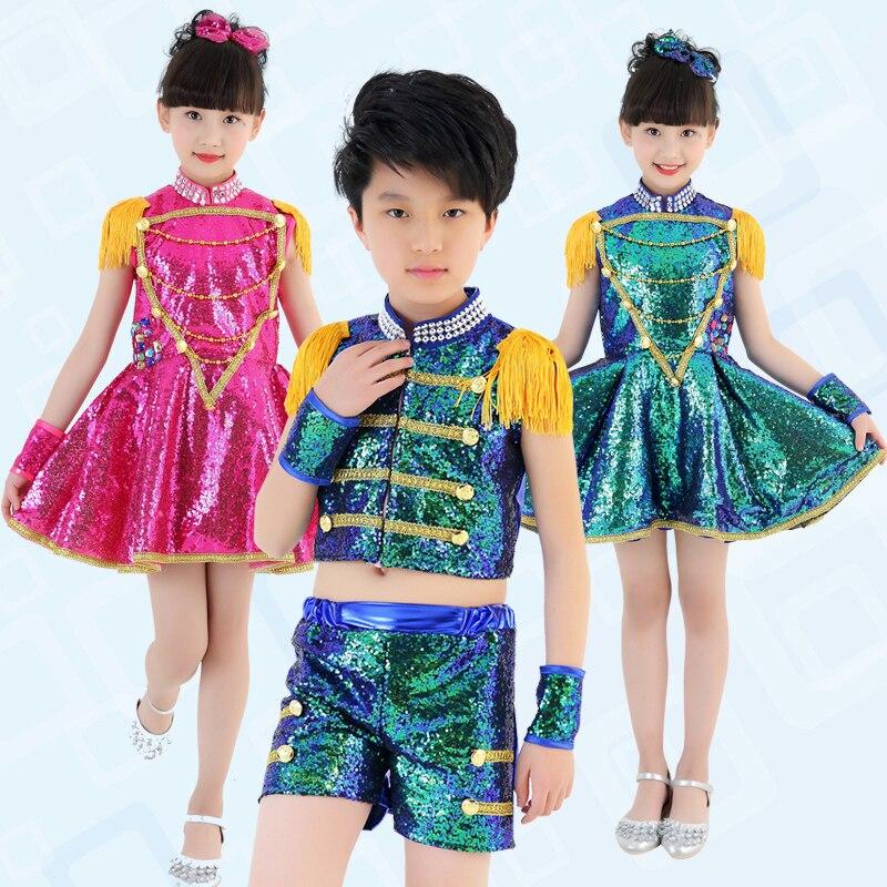 Novelty & Special Use Children s Jazz Dance Costumes Boys Drums Hip Hop Costumes Girls Jazz Sequins Pompon Yarn Skirt