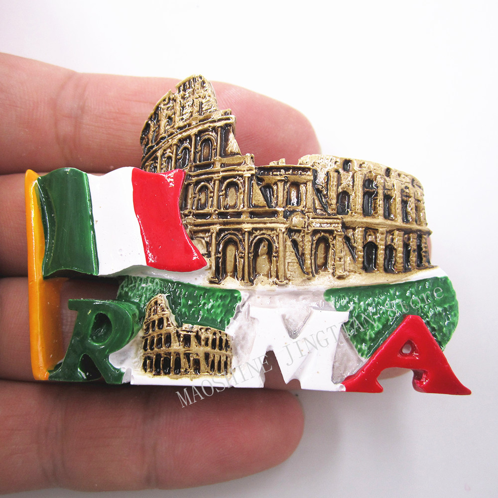 Hand Painted Italy Rome Arena Colosseo 3D Resin Fridge Magnet Sticker Country Tourism Souvenir Collectibles Decor Note RoundB21 in Fridge Magnets from Home Garden