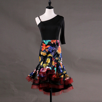 Women's latin dance one shoulder flapper floral latin dance dress patterns printing latin dance outfits competition dresses