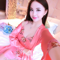 Satin Robes For Brides Wedding Robe Silk Satin Sleepwear Set Pijamas Mujer Home Suit Night Gown