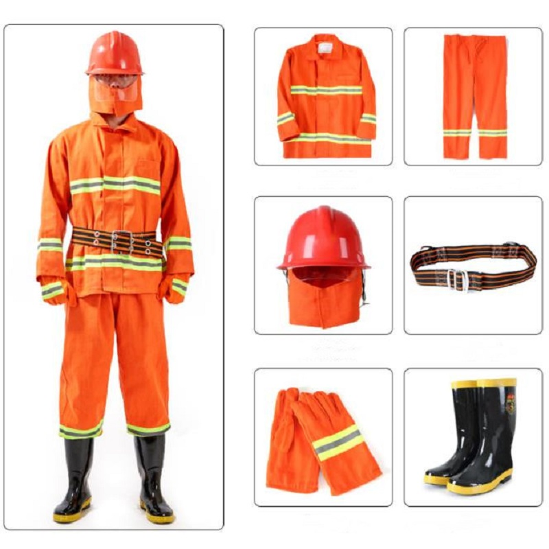 6 In 1 Firefighter Suits Insulated Flame-Retardant Coat Anti-Impact Helmet Reflective Gloves Electric Shock-Proof Rubber Boots