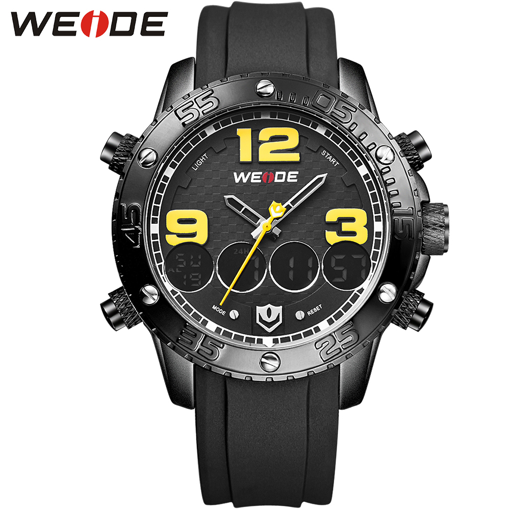 WEIDE Big Dial Sport Watch Luxury PU Strap Digital Quartz Dual Movement Multi-Functional 3ATM Waterproof Army Brand New Watches ultra luxury 2 3 5 modes german motor watch winder white color wooden black pu leater inside automatic watch winder