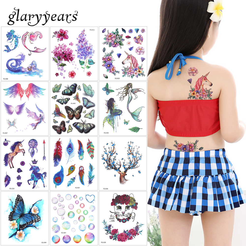 cc041609ac343 glaryyears 3 Pieces/set Glitter 3D Colorful Temporary Tattoo Sticker FG  Butterfly Mermaid Pattern for Beauty Body Makeup Tattoos