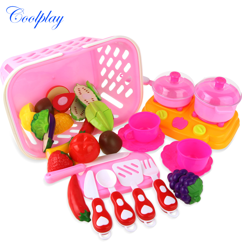 26PCS/set DIY Children Play House Kitchen Toy Cutting Plastic Fruit Vegetables Pretend Playset Toys Educational toys for kids )