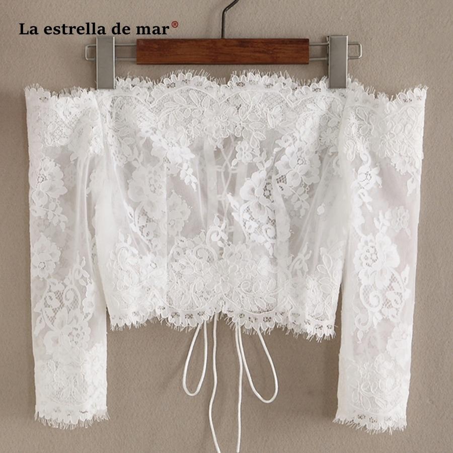 La estrella de mar Premium custom wedding shawl new Boat Neck Lace long sleeve ivory bolero jacket short wedding bolero