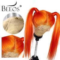 Beeos faux cuir chevelu Orange Transparent droit 13*6 dentelle avant perruques de cheveux humains avec pré plumé bébé cheveux brésiliens Remy cheveux
