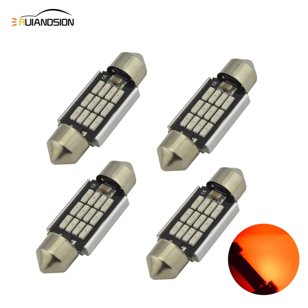 4x Red 31/36/39/41mm C5W 12SMD 4014 LED CANBUS NO Error Festoon Bulb Car Boat AC12-24V Auto Interior Dome Lamp Styling Light