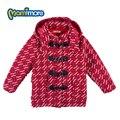 Mamimore estilo preppy xadrez vermelho casaco novo estilo de crianças casaco de lã com capuz longo-manga clothing crianças grossas roupas outerwear