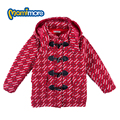 Mamimore preppy style red plaid coat nuevo estilo niños clothing chaqueta de lana con capucha de manga larga gruesa ropa de los cabritos prendas de vestir exteriores