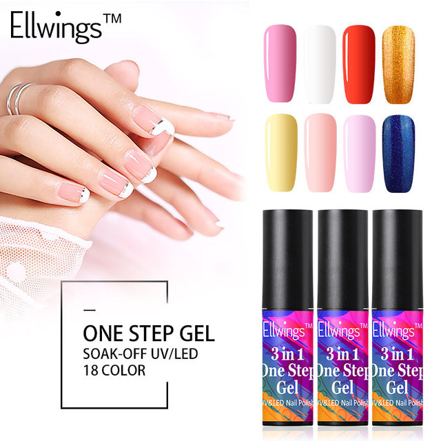 Ellwings 1pcs One Step Lucky Gel Polish Nail Lacquer Soak Off Semi ...