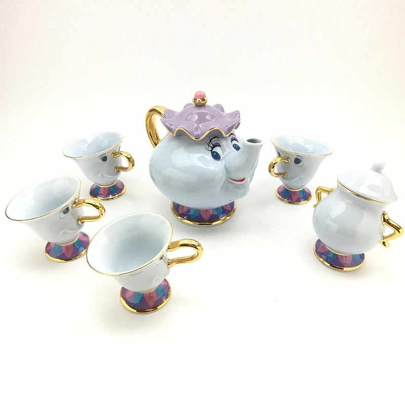 Hot Sale Kecantikan dan Binatang Teko Mrs Potts Chip Teh Pot Cangkir Set Keramik Cogsworth Lumiere Lovely Natal Hadiah cepat Post