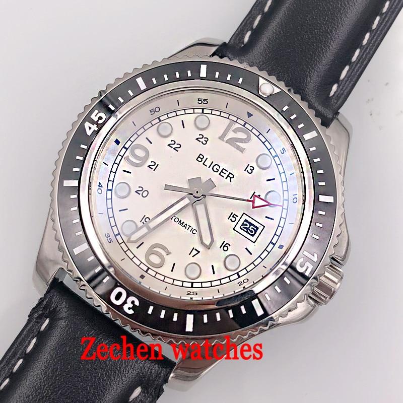 44mm bliger sterile black dial sliver case black ceramic bezel date window white Automatic mens Watch цена и фото