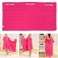 140x75cm Soft Microfiber Magic Absorbent Dry Bath Beach Towel Bathrobe Skirt Dress Rose Red Drop Shipping