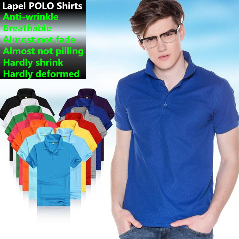 100ps Men&Women Lovers Lapel Tops&Tees Boy&Girl 100% polyester Cotton Slim Advertising Short Sleeve Shirts Big Yards   Polo   Shirts