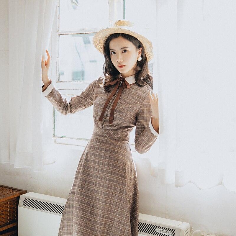 2018 nowych moda damska sukienki jesień i zima literackie retro elegancka z długim rękawem sukienka w kratę w Suknie od Odzież damska na  Grupa 3