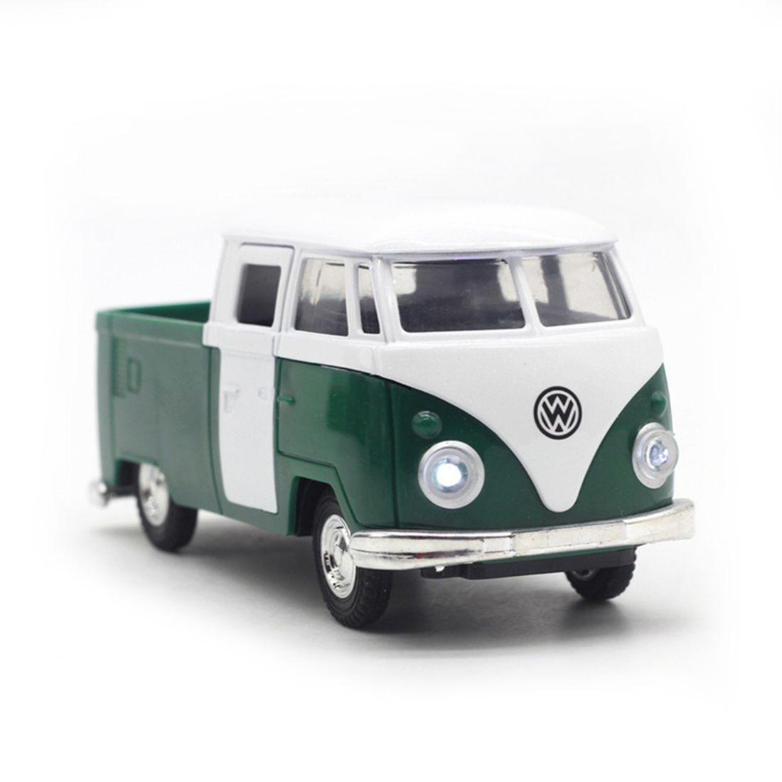 Горячая Распродажа Зеленый моделирование 1:32 звук и свет музыка отступить Ретро фургона ...