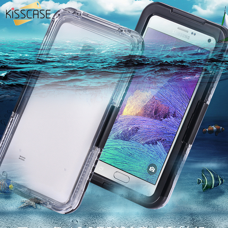 KISSCASE Note 4 Capa Waterproof Case Clear Hybrid Swimming Dive Case For Samsung Galaxy Note 4