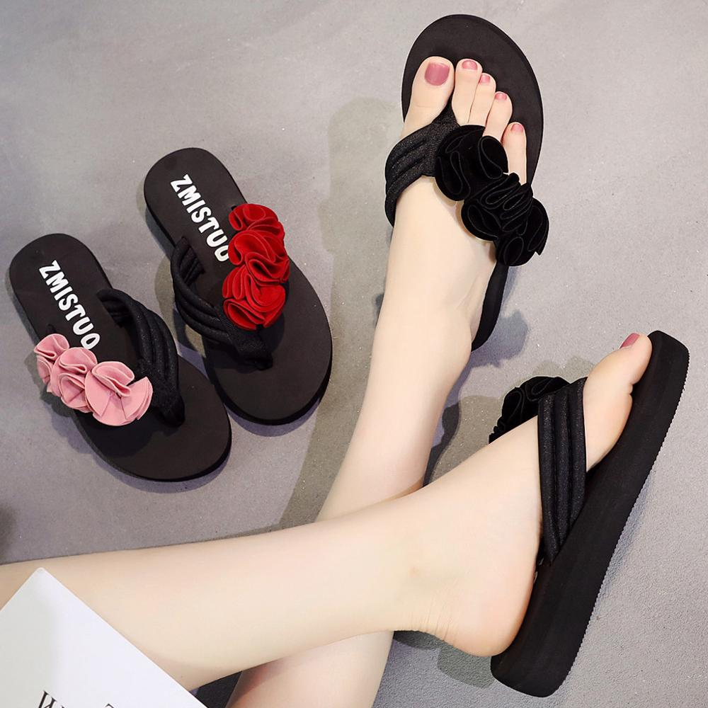 Summer Fashion Women's Flower Clip Toe Flip Flops Non-Slip Wedges Beach Slippers