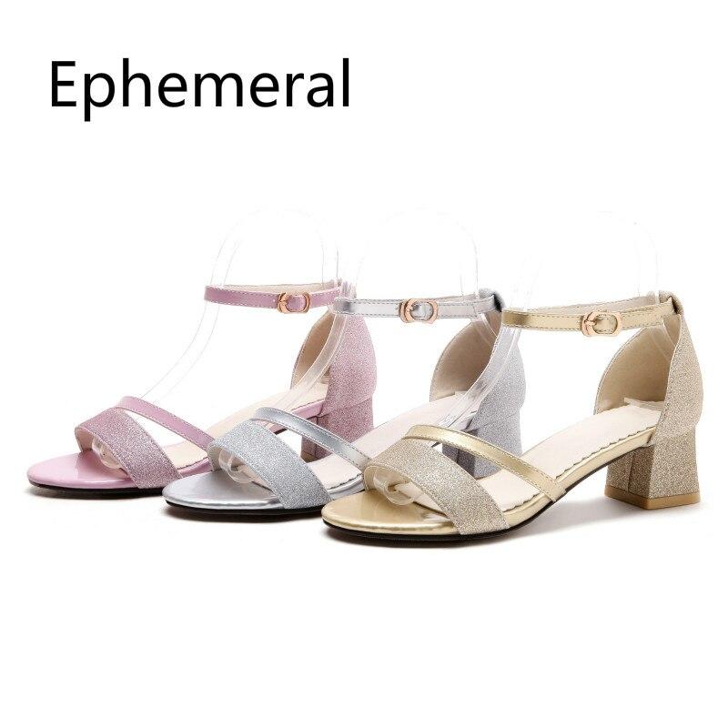 Женские дизайнерские босоножки; шикарная обувь с пряжкой на ремешке; туфли лодочки с открытым носком на квадратном каблуке; Золушка; размера плюс 2019, 52, 51, 33; цвет золотистый, серебристый