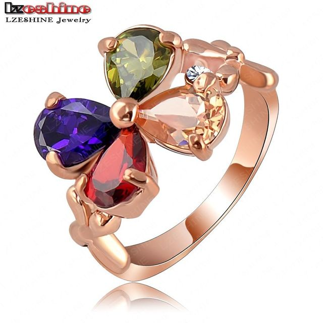 LZESHINE Brand Elegant Ring Rose Gold Plated Genuine Austrian Crystal SWA Element Flower Ring Free Shipping Ri-HQ1016-A