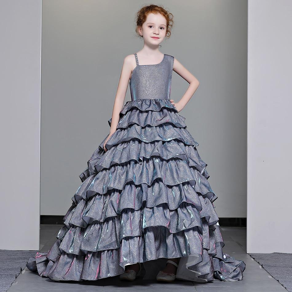 Marfoli Асимметричный принцесса платье для выпускного вечера для девочек Первого Причастия Праздничное Платье многослойное платье со шлейфом