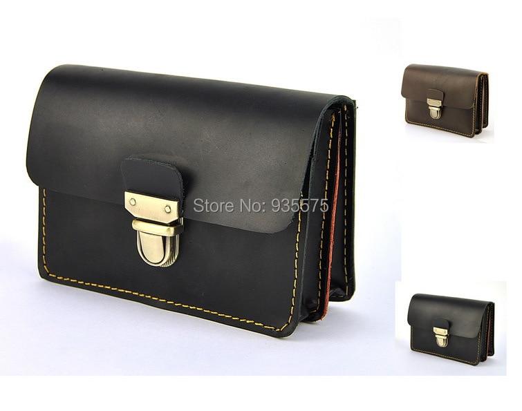 Men Vintage Genuine Leather Fanny Waist Purse Belt Bum Pouch Cellphone Bag Retro