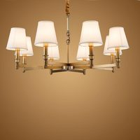 Modern Real Bronze Copper Chandelier for Bedroom Kitchen Living Room Fabric Lampshade Ceiling Home Lighting BLC016