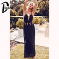 Daylook 2016 Vestido Maxi de La Vendimia de Las Mujeres Sexy Cuello En V Loose Hollow Out Cintura Playa Vestido Elegante Backless Cruz Vestidos S-XL