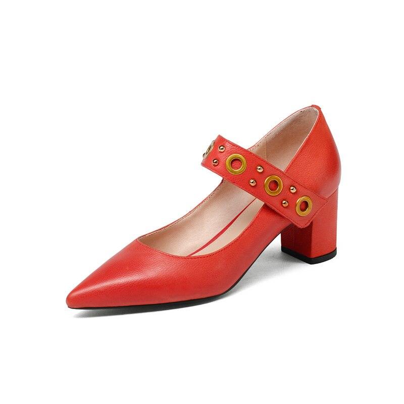 En Chaussures Mode Printemps Pointu Automne Bout Véritable Talons 2019 Noir Femme Cuir rouge Nemaone Femmes Pompes Élégant Hauts HPxwBn