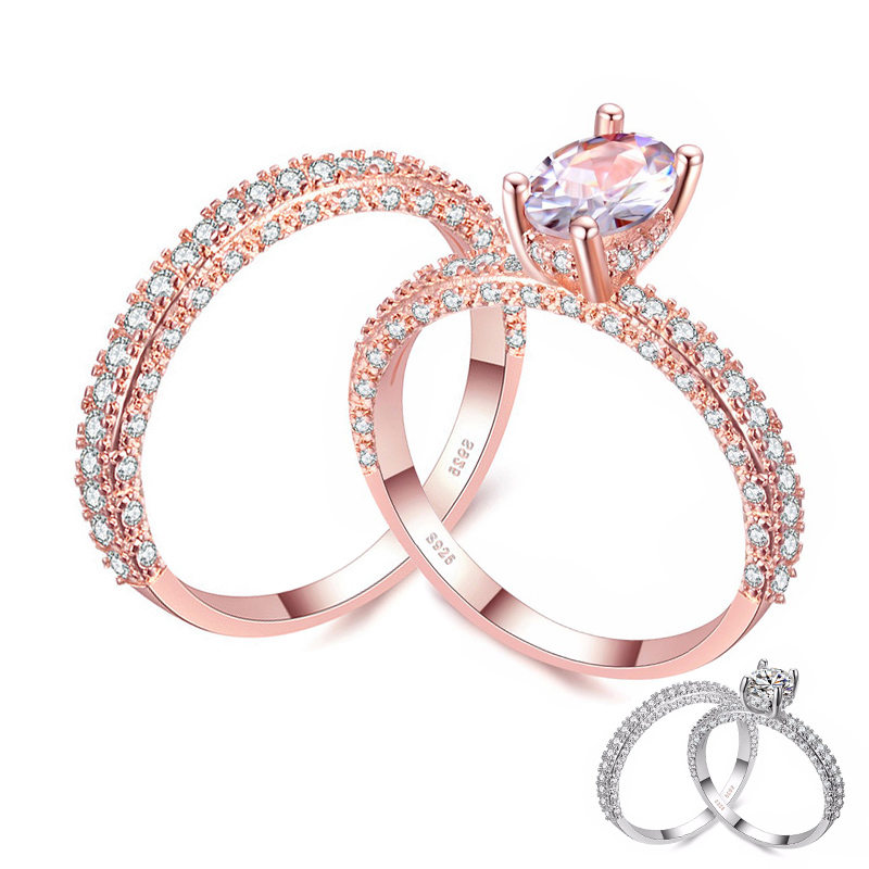 8a316e906 Goedkope Classic Zirconia Engagement Ring voor Vrouwen Rose Gold/Silver  Tone Alliance Ring Paar Wedding