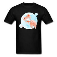 2018 Cheaper Funny Design Fish Graphic T Shirt Simple Style 100 Cotton No Button Small Size